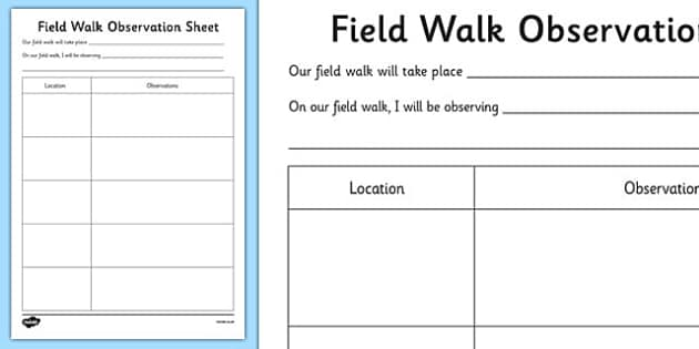 Field Walk Observation Sheet - Science, Habitats, Australian Curriculum, Living, Environment, Living Things, Animals, Plants, Worksheet, Field Walk, Observations