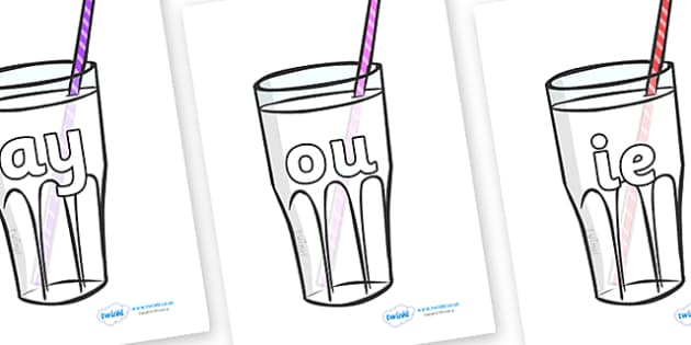 Phase 5 Phonemes on Milkshakes - Phonemes, phoneme, Phase 5, Phase five, Foundation, Literacy, Letters and Sounds, DfES, display