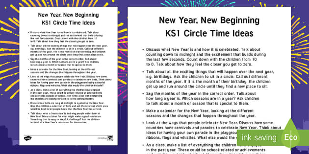KS1 New Year Circle Time Teaching Ideas - New Year, new, new