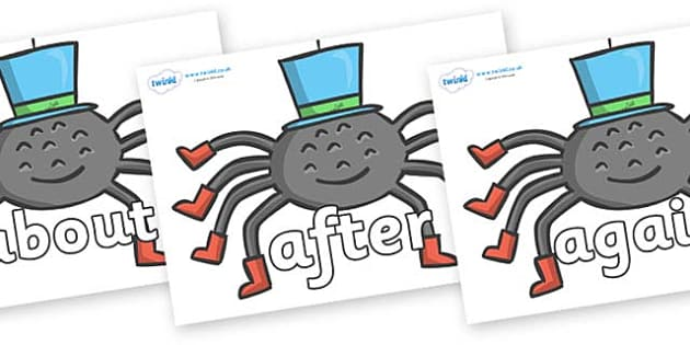 KS1 Keywords on Spiders - KS1, CLL, Communication language and literacy, Display, Key words, high frequency words, foundation stage literacy, DfES Letters and Sounds, Letters and Sounds, spelling
