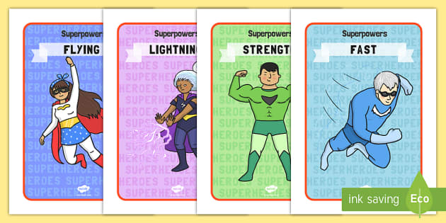 Superhero Special Powers Display Posters - Superhero, superheroes, hero, poster, banner, sign, display, A4 display, batman, superman, spiderman, special, power, powers, catwoman, liono, he-man