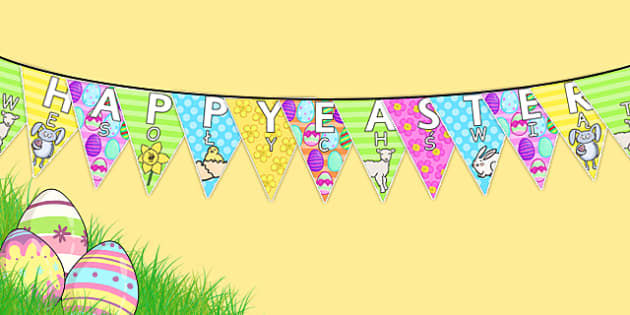 Happy Easter Display Bunting Polish Translation - polish, bunting, decorations, display, display bunting, happy easter, easter, happy easter bunting, easter bunting, happy easter display, classroom decorations, for decorating your classroom