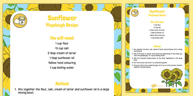 Sunflower Playdough Recipe - sunflower oil, sunflower, playdough, recipe, plants, growing