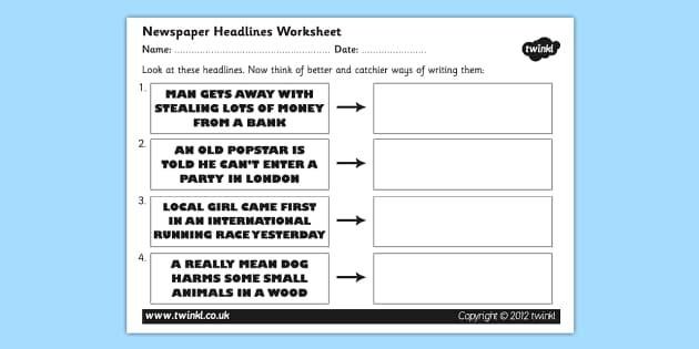 Newspaper Headline Writing Worksheet - newspaper headlines, newspaper headline worksheet, writing newspaper headlines, newspaper, ks2 literacy