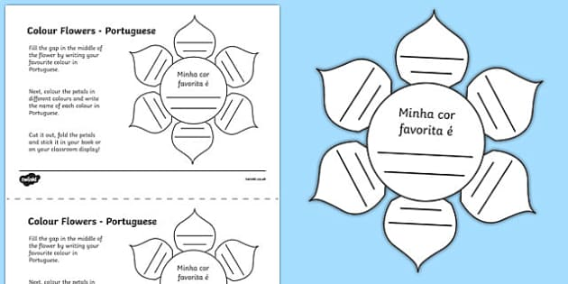 MFL Portuguese Colour Flowers Activity Sheet, worksheet