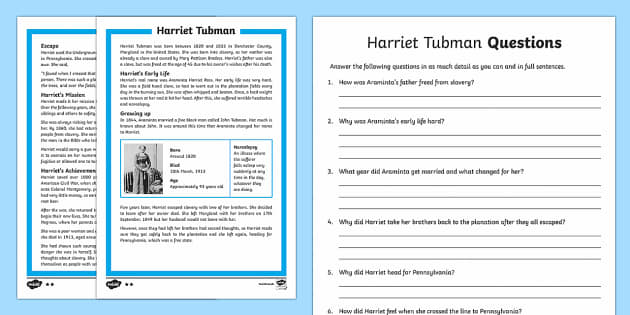 Harriet Tubman Differentiated Reading Comprehension Activity