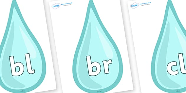 Initial Letter Blends on Water Drops - Initial Letters, initial letter, letter blend, letter blends, consonant, consonants, digraph, trigraph, literacy, alphabet, letters, foundation stage literacy