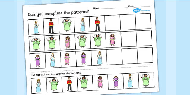 Cinderella Complete the pattern worksheets - cinderella, pattern