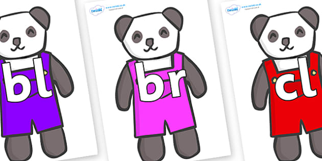 Initial Letter Blends on Panda Bears - Initial Letters, initial letter, letter blend, letter blends, consonant, consonants, digraph, trigraph, literacy, alphabet, letters, foundation stage literacy