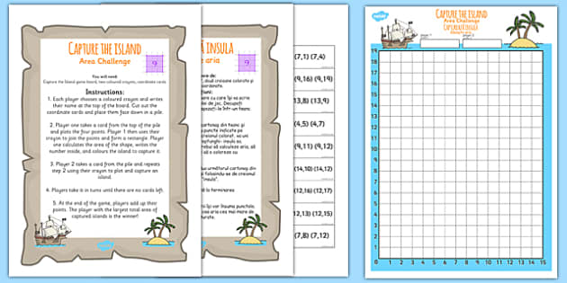 Coordinates and Area Island Game Romanian Translation - romanian, area challenge game, areas, co-ordinates game, area challenge, numeracy areas, ks2 numeracy, shape areas, squared