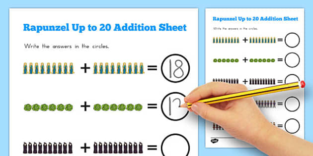 Rapunzel Up to 20 Addition Sheet - australia, rapunzel, addition, 20