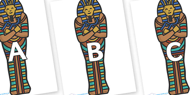 A-Z Alphabet on Sarcophagus - A-Z, A4, display, Alphabet frieze, Display letters, Letter posters, A-Z letters, Alphabet flashcards