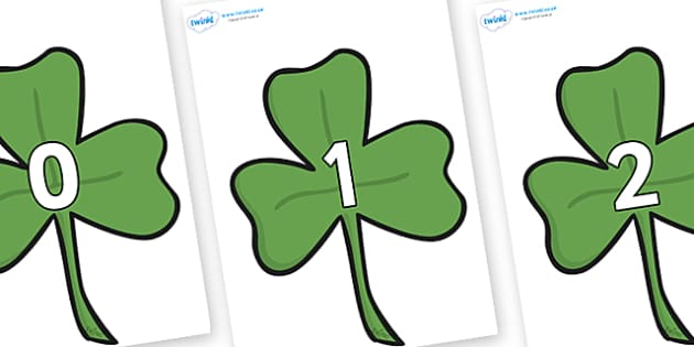 Numbers 0-31 on Clovers - 0-31, foundation stage numeracy, Number recognition, Number flashcards, counting, number frieze, Display numbers, number posters