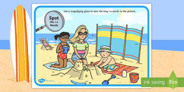 Phase 5 i-e Words Beach Scene Magnifying Glass Activity Sheet - phonics, letters and sounds, phase 5, ie sound, magnifier, magnifying glass, find, activity, group,