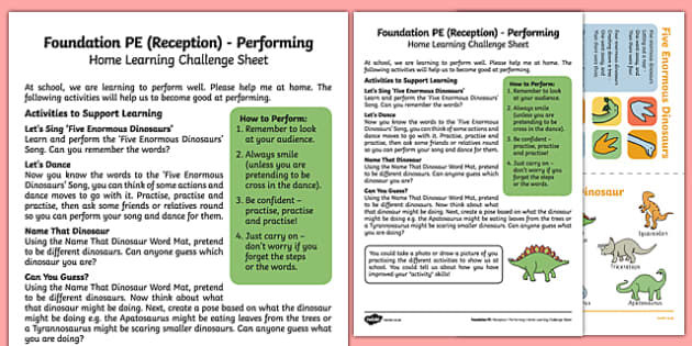Foundation PE (Reception) - Performing Home Learning Challenge Sheet - EYFS, PE, Physical Development