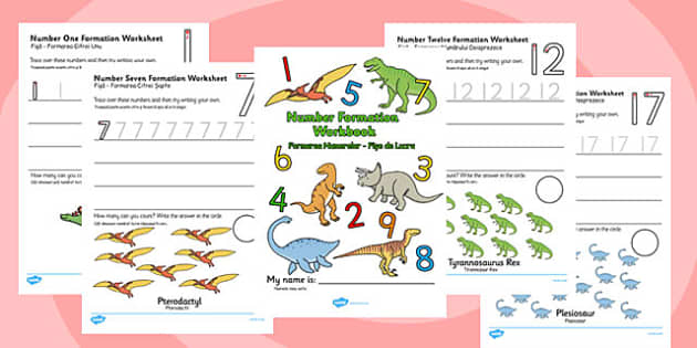 Number Formation Workbook Dinosaurs Romanian Translation - romanian