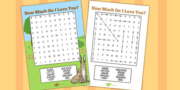 How Much Do I Love You Wordsearch - How, Much, Love, Wordsearch
