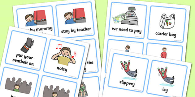 SEN Communication Cards Out and About (Boy) - communication cards, education, home school, child development, children activities, free, kids, special needs, special education, speech and language