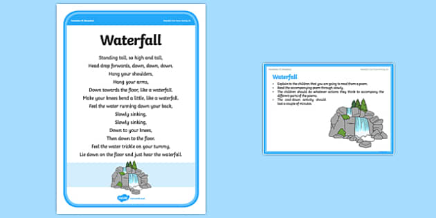 Foundation PE (Reception) Waterfall Cool-Down Activity Card - physical activity, foundation stage, physical development, games, dance, gymnastics