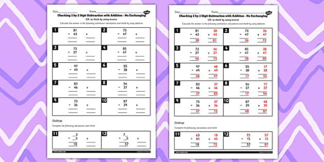 Y3 Inverse Check 2 Digit Subtract Add no Exchanging Worksheet