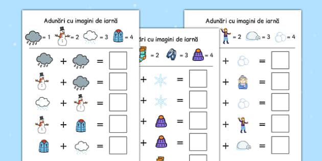 Adunari folosind codul imaginilor de iarna - iarna matematica , worksheet