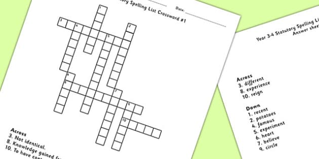 Year 3-4 Statutory Spelling List Crossword 1 - crossword, spell