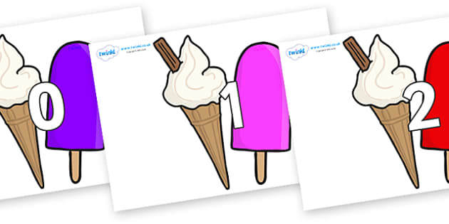 Numbers 0-100 on Ice Cream and Lollies - 0-100, foundation stage numeracy, Number recognition, Number flashcards, counting, number frieze, Display numbers, number posters