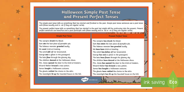 Halloween Simple Past and Present Perfect Tense Word Mat