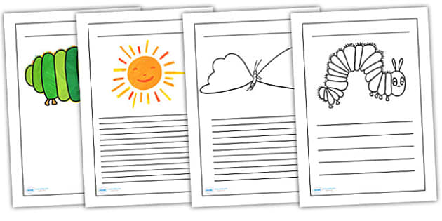 Writing Frames to Support Teaching on The Very Hungry Caterpillar - the very hungry caterpillar, writing frames, writing aids, writing guide, line guide, writing, literacy