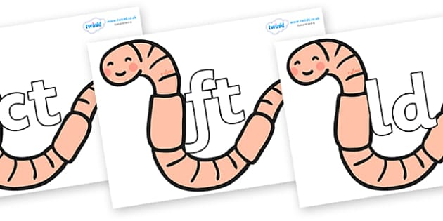 Final Letter Blends on Earthworms - Final Letters, final letter, letter blend, letter blends, consonant, consonants, digraph, trigraph, literacy, alphabet, letters, foundation stage literacy