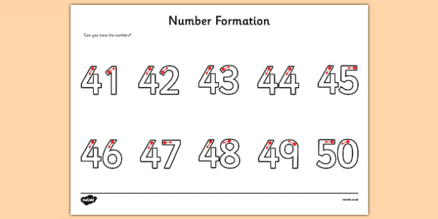 Number Formation Activity Sheet 41-50 - number formation, activity sheet, activity, number, formation, 41-50, worksheet