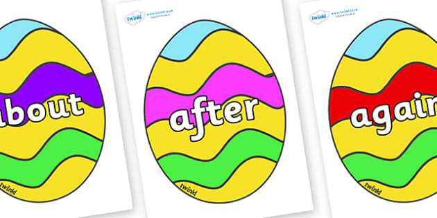 KS1 Keywords on Easter Eggs (Striped) - KS1, CLL, Communication language and literacy, Display, Key words, high frequency words, foundation stage literacy, DfES Letters and Sounds, Letters and Sounds, spelling