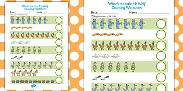 Counting Sheet to Support Teaching on What's The Time, Mr Wolf? - counting sheet, mr wolf