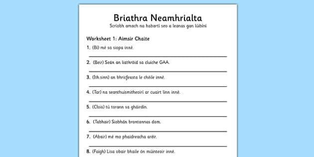 Briathra Neamhrialta Aimsir Caite Worksheet Gaeilge - worksheet, gaeilge, irish, briathra neamhrialta
