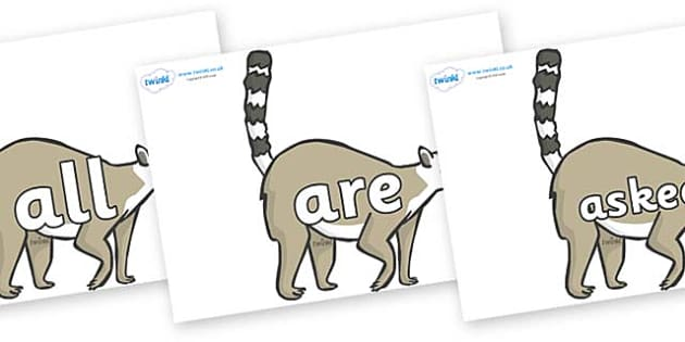 Tricky Words on Lemurs - Tricky words, DfES Letters and Sounds, Letters and sounds, display, words