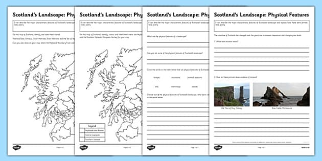 Scotland's Landscape Physical Features Worksheets - scotlands, physical, features, worksheets