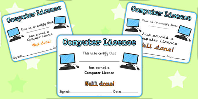 Computer Licence - computer licence, licence, computer, ICT, laptop, award, certificate, able to use, well done, certify
