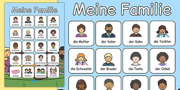 Meine Familie Vocabulary Poster German - german, my family, vocabulary poster, vocabulary, poster, display
