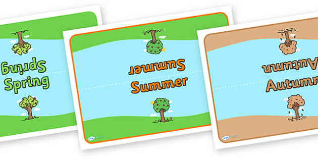 Editable Class Group Table Signs (Four Seasons) - Seasons, Autumn, Summer, Spring, Winter, fall, group signs, group labels, group table signs, table sign, teaching groups, class group, class groups, table label