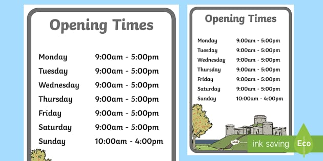 Medieval Castle Role Play Opening Times - Medieval castle, castle, castles and knights, opening times, shop times, timetable, history, role play, turret, moat, drawbridge, maiden, knight