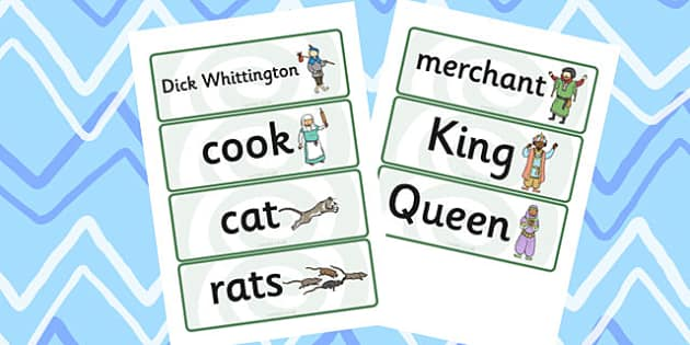 Dick Whittington Word Cards - keywords, themed, word cards