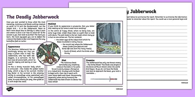 The Deadly Jabberwock Non-Chronological Report Activity Sheet, worksheet