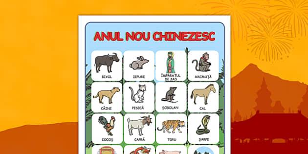 Animalele zodiacului chinezesc - Planșă vocabular