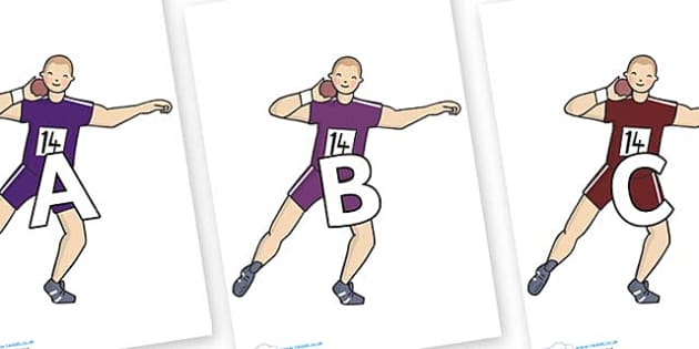 A-Z Alphabet on Shot Put - A-Z, A4, display, Alphabet frieze, Display letters, Letter posters, A-Z letters, Alphabet flashcards