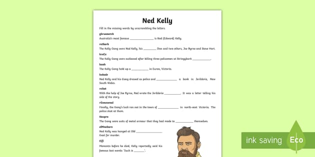 Ned Kelly Word Unscramble - Bushrangers, Australian history, Ned Kelly, outlaws, Australia,Australia, Humanities and Social Scie