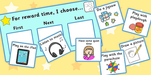 'For Reward Time I Choose...' Choice Board - reward, time, I choose, cards, order