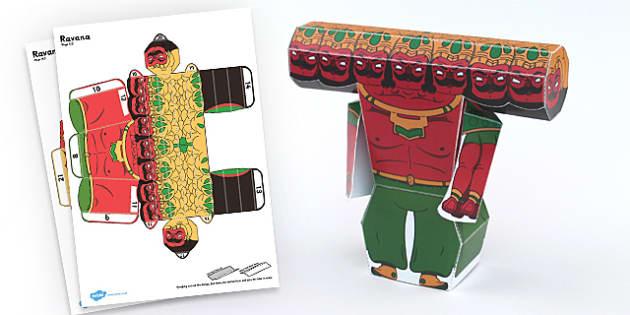 Diwali Paper Toy Character Ravana - festivals, paper craft, art