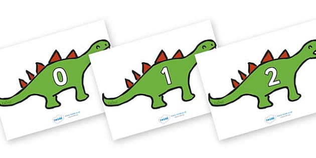 Numbers 0-50 on Dinosaurs - 0-50, foundation stage numeracy, Number recognition, Number flashcards, counting, number frieze, Display numbers, number posters