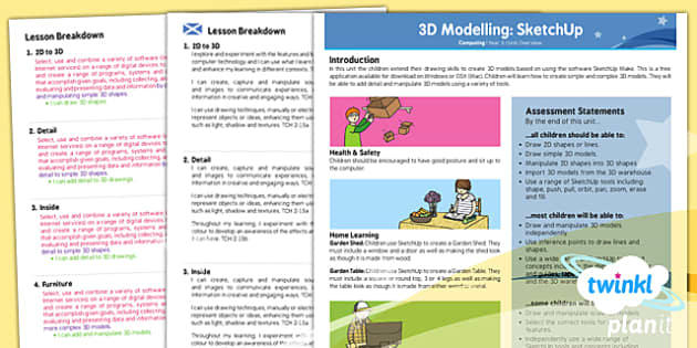PlanIt - Computing Year 5 - 3D Modelling SketchUp Planning Overview CfE - CfE, Planit, 3D design, computing, graphics