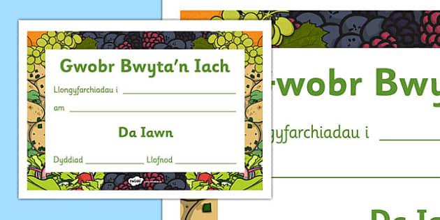 Tystysgrif Gwobr Bwyta'n Iach - welsh, cymraeg, tystysgrif, gwobr, bwyta'n iach, bwyta, iach